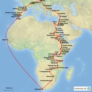 Reiseroute Entlebuch-Kapstadt